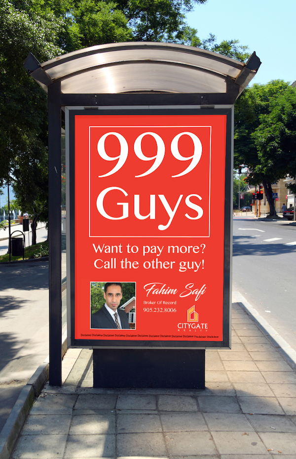 Bus shelter ad for real estate agent 999guys